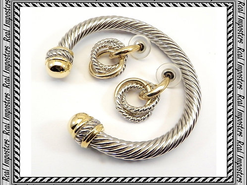 6.7 mm Designer Inspired 2-Tone Gold Tips Bracelet & Earring Set