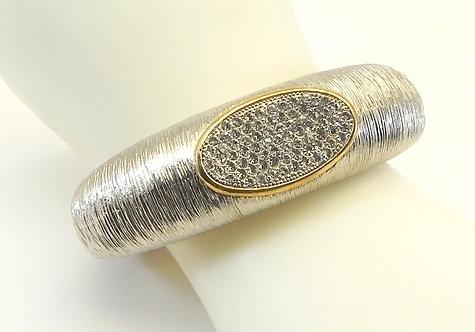 International Designer Inspired Silver-Tone Brushed  Pave Crystal Bracelet