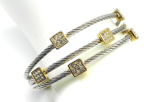 Cable Inspired 2-Tone Pave Crystal Square Sections Stainless Steel
