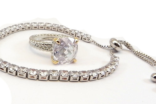 Cable Designer Inspired Silver-Tone Clear CZ Bracelet & 2-Tone Ring 6-8