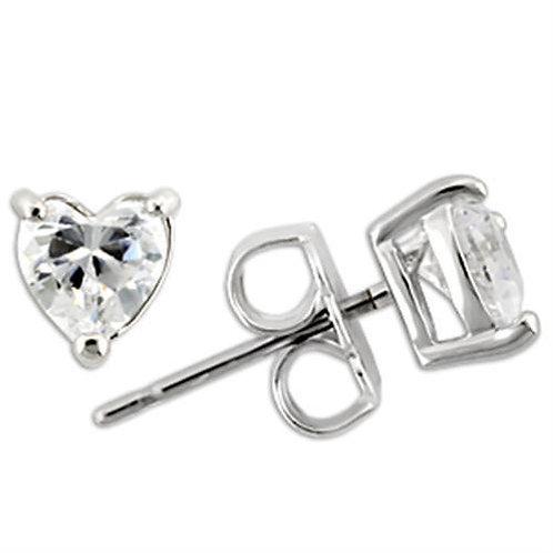4x4 MM .25 Carat Per Side CZ Heart Shape Sterling Silver Stud Earring