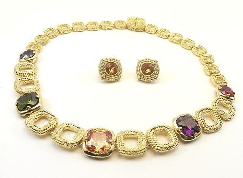 Designer Inspired Gold-Tone Braided Links Multi-Color CZ Necklace-Earring Set