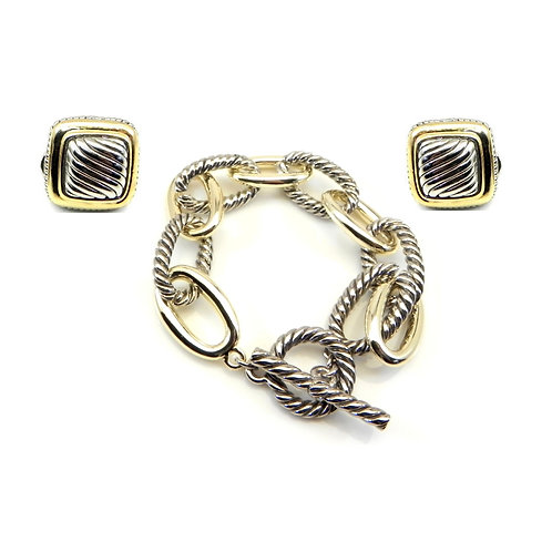 "Classic Designer inspired 2-Tone Link 8"" Toggle Bracelet & Square Ear"