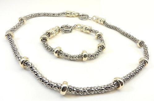 Designer Inspired 2-Tone Caviar Necklace and Bracelet Set