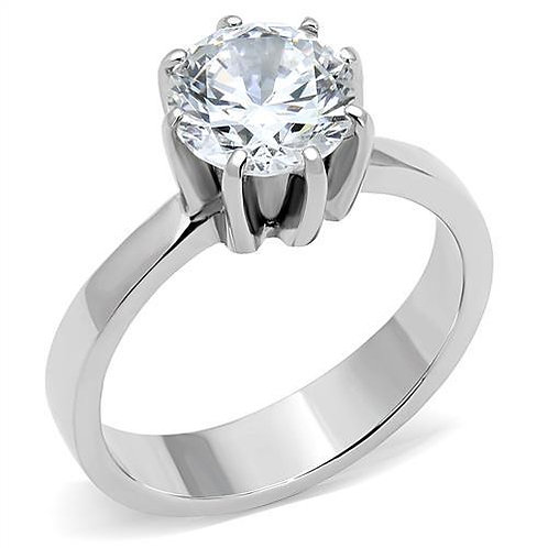 Solitaire 8 Prong Setting 8 mm 2.04 Ct Round CZ Stainless Steel Engagement 5-10