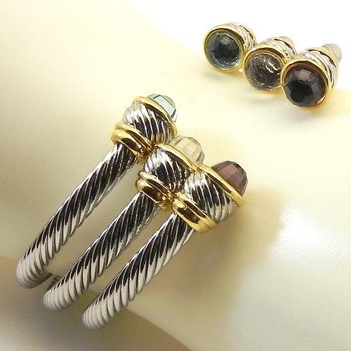 Stacking Bracelet  Set Cable Designer 2-Tone  CZ Amethyst, Blue Topaz, Clear Set