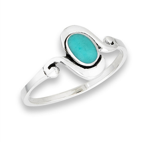 Sterling Silver Modern Oval Simulated Turquoise Ring Size 7