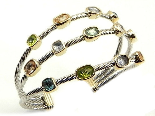Cable Designer Inspired 2-Tone Confetti Light Multi-Color CZ Bracelet Cuff