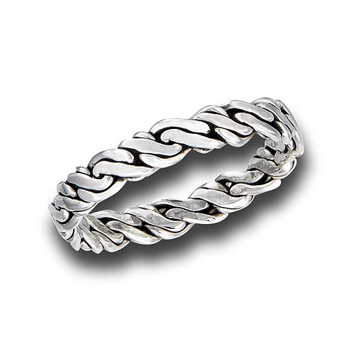 Sterling Silver Intricately Braided 3mm Ring Size 7