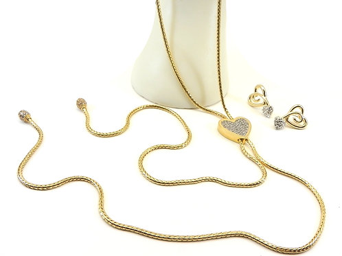 """Designer Inspired Gold-Tone 38"""" Lariat Pave Crystal Heart Necklace-Earring Set"""