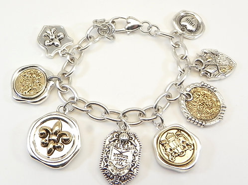 International Designer Inspired Fun 2-Tone Charm Bracelet