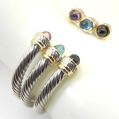 Classic Cable Inspired 2-Tone & CZ Stainless Steel Bracelet 5 Colors
