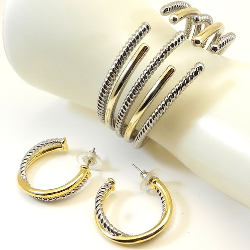 Statement Cable Designer Inspired 2-tone Cuff Bracelet and Earrings Set