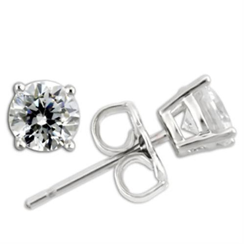 5 MM .46 Per Side Round CZ Sterling Silver Stud Earring-Stud