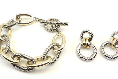 Cable Designer Inspired 2-Tone Link Bracelet and Earring Set