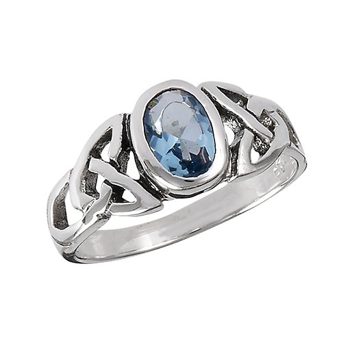 Sterling Silver Dainty-Petite Celtic  Simulated Blue Topaz Ring Size 7