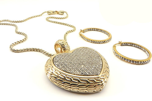 Bali Designer Inspired Gold-Tone Heart Pave Necklace/Earring Set