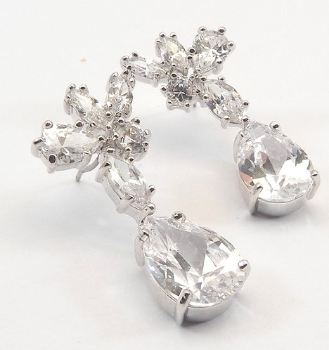 Dazzling Simulated Diamond CZ Pear & Marquise Shape Dangling Earring
