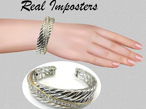 Cable Designer Inspired Bracelet Cuff 2-Tone & Pave Set CZ's