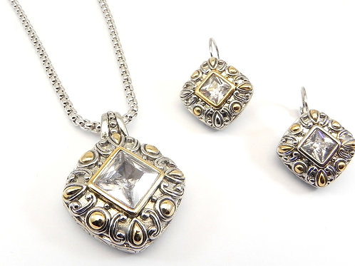 "Bali Designer Inspired 2-Tone Clear CZ Pendant, CZ Earring & 19"" Chain"