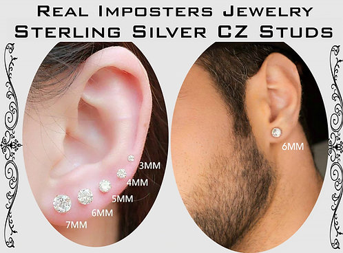 Sterling Silver Brilliant Round Cut CZ Stud Earring  2-3-4-5-6-7 MM