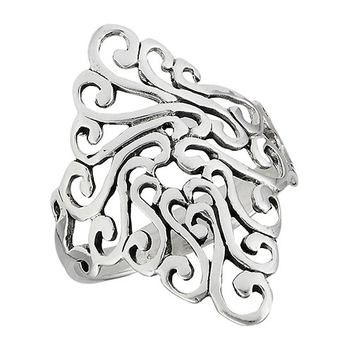 Sterling Silver Swirl Cluster Filigree Ring Size 7