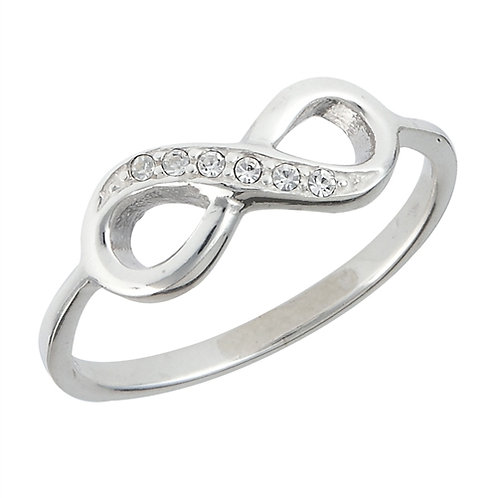 Sterling Silver Infinity Ring Austrian Crystals Size 7