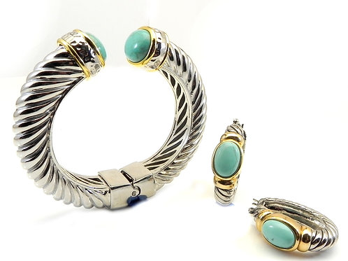 Chunky Cable Designer Inspired 2-Tone Simulated Turquoise Bracelet & Earring Set