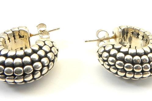 """Sterling Silver 925 Bali Designer Inspired Hoop Earrings 1"""""""