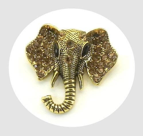 Fun Elephant Gold Tone & Champagne Topaz Austrian Crystals Brooch