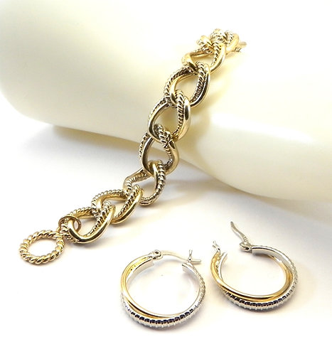 Designer Inspired 2-Tone Link Toggle Bracelet & Hoop Earring