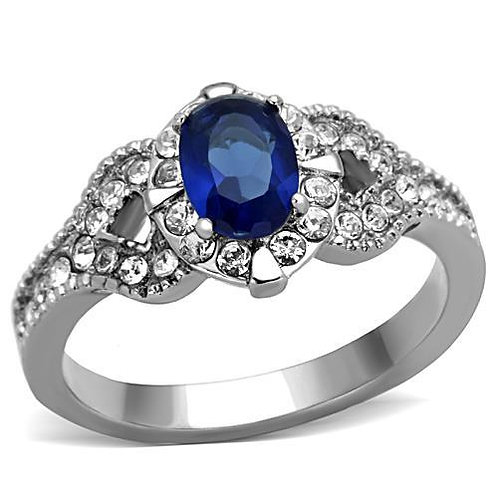 Vintage-Retro Simulated Sapphire Oval & French Set CZ's Engagement Ring Sz 5-9