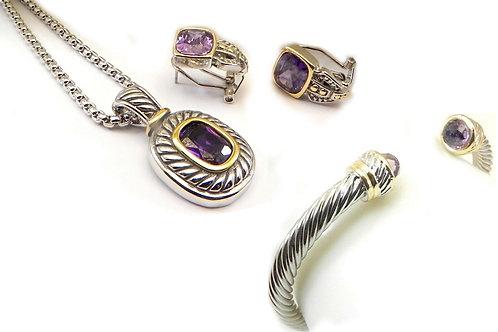Cable Designer Inspired 2-Tone Amethyst CZ Bracelet Pendant, Chain & Earring Set