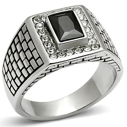 Stainless Steel Men's Ring- Black Stone & Pave Set Crystals
