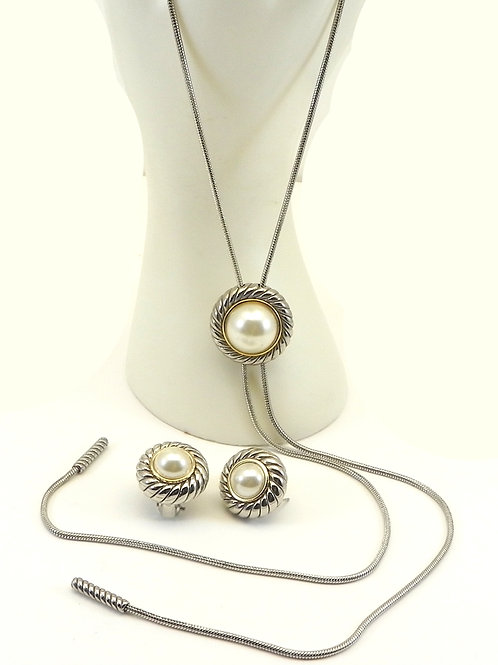 Cable Designer Inspired  Faux Pearl LARIAT-Earring Set