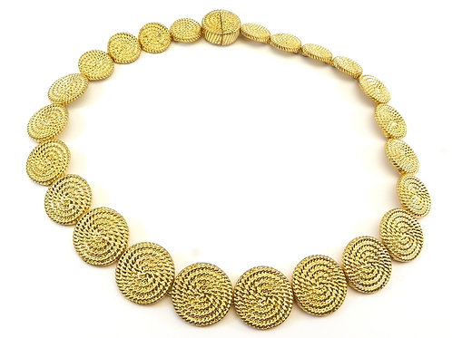 Designer Inspired Gold Tone Braided Textured Circle Necklace