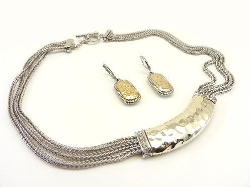 "Bali  Designer Inspired Triple Chain Hammered Center 17"" Necklace-Earring Set"