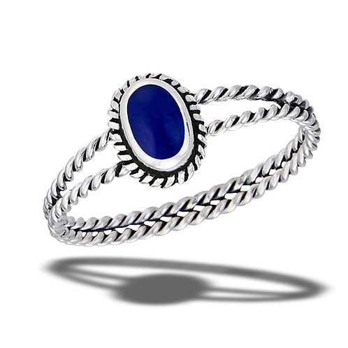 Sterling Silver Braided Synthetic Lapis With Double Rope Shank Ring Size 7