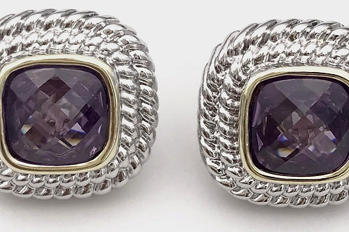 Classic Cable Designer Inspired Square Cut Amethyst CZ  Earring