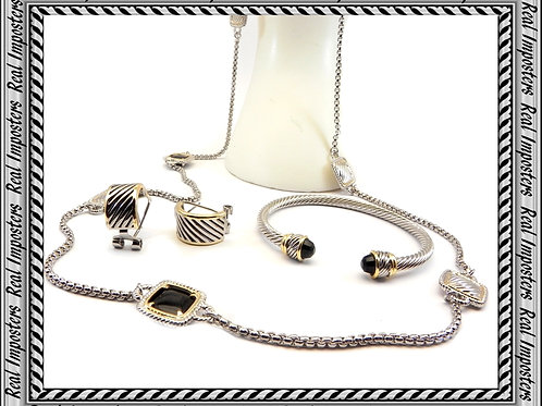 "Designer Black Crystal Stations 36"" Link Necklace-Earring-Bracelet Set"