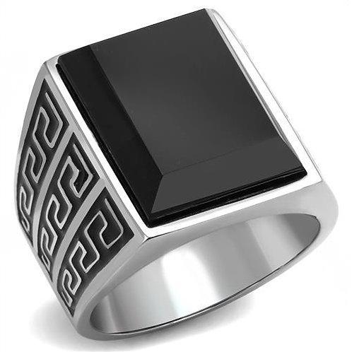 Stainless Steel Men's Ring Black Stone & Black Enamel Size 8-13