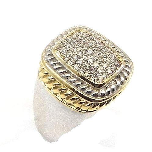 Cable Designer Inspired 2-Tone Pave Austrian Crystals Ring 6-7-8