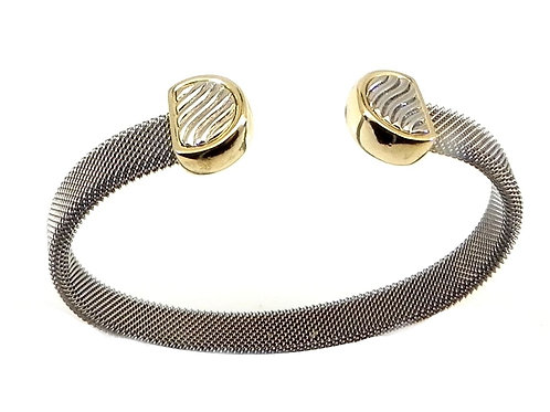 Cable Designer Inspired 2-Tone Rhodium Stainless Bracelet