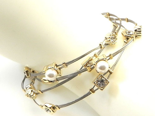 Designer Inspired Simulated Pearl Crystals 2-Tone Stainless Steel Wire Bracelet