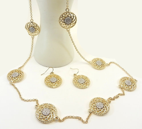 """Designer Inspired Gold-Tone 37"""" Seven-Pave Crystals Round Stations & Earring Set"""