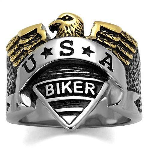 USA Biker 2-Tone Stainless Steel Men's Ring