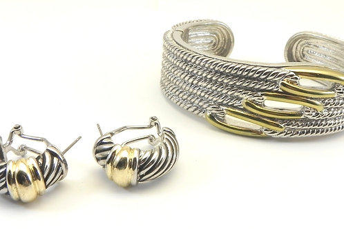 Cable Designer Inspired 2-Tone Braided Texture Hinged Bracelet & Earring Set