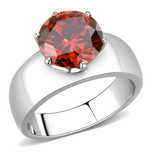 Stainless Steel  Simulated Garnet  Round Cut 10 MM 3.16 Ct Ring Size 5-10
