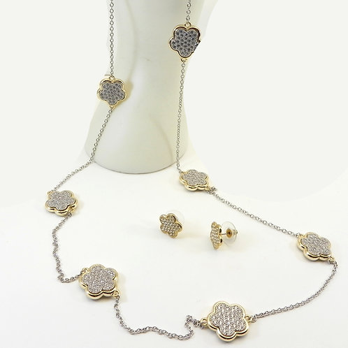 "International Designer Inspired 2-Tone Pave 7 Stations 36"" Necklace-Earring Set"