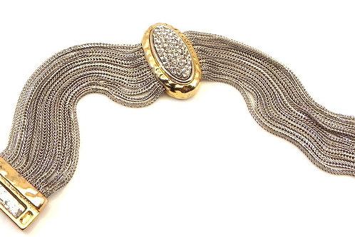 Bali Designer Inspired 2-Tone Multi- Strand Chain & Pave Oval Center Bracelet
